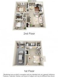 Floor Plan 3 Bed 1.5 Bath Townhome