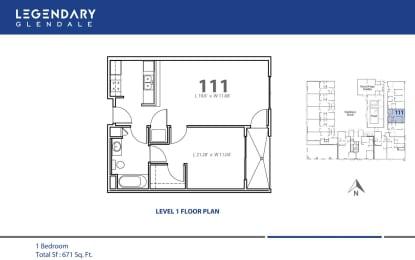 Floor Plan 111 at Legendary Glendale Modern Apartments, in Glendale, CA