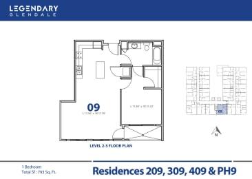 Floor Plan 09 at Luxury Apartments in Glendale, California, Legendary Glendale