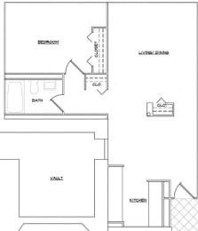 Floor Plan 1 Bedroom and 1 Bath