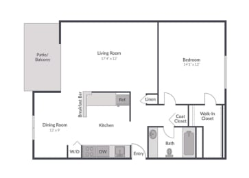 1 Bed 1 Bath Floor Plan at The Brook at Columbia, Columbia, Maryland