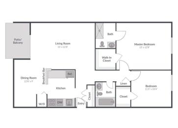 2 Bedroom 2 Bath Floor Plan at The Brook at Columbia, Columbia, MD