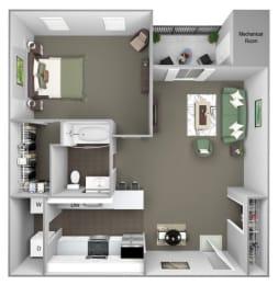 Hampshire Green Apartments - A3 (Huntington) - 1 bedroom - 1 bath - 3D
