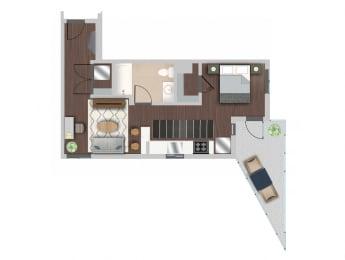 Efficiency 10 Floor Plan at Berkshire K2LA, Los Angeles