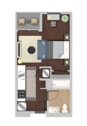Efficiency 6 Floor Plan at Berkshire K2LA, Los Angeles, CA