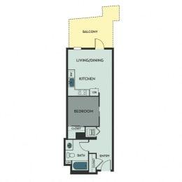 A02 A – 1 Bedroom 1 Bath Floor Plan Layout – 574 Square Feet