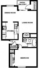 Jr 1bd Floor Plan, at Copper Ridge Apartment Homes, Renton, Washington