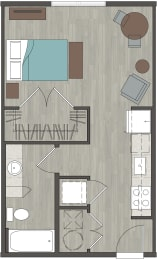 Lofts at Monroe   Studio 476 Sq. Ft.