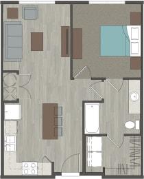 Lofts at Monroe   1 Bedroom, 1 Bathroom 666 Sq. Ft.