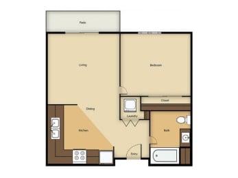 1BR floor plan Vintage at Sequim Senior Apartments l Sequim Wa 98382