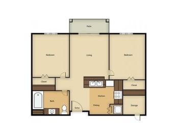 2BR B floor plan Vintage at Sequim Senior Apartments l Sequim Wa 98382