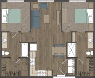 Carter Crossing Apartments   2 Bedroom Floor Plan