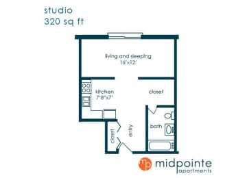Floor Plan  Studio Bed One Bathroom