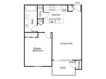 1 Bed 1 Bath A1 Floor plan, at Newberry Square Apartments, Lynnwood, WA