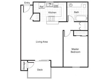 1 Bed 1 Bath A2 Floor plan, at Newberry Square Apartments, Lynnwood, 98087