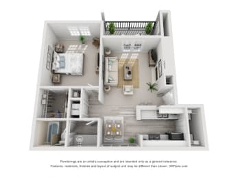 674 sq.ft. One Bed One Bath