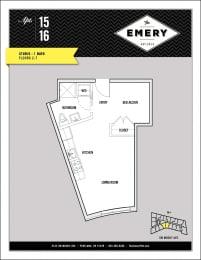Floor Plan  Studio Floor Plan at The Emery, Portland, 97239