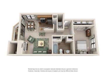 1 Bed 1 Bath Floor Plan at Sorrento Bluff, Beaverton, 97008