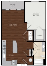 Tapestry Largo Station_Largo MD_Floor Plan 1A_One Bedroom One Bathroom