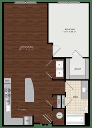 Tapestry Largo Station_Largo MD_Floor Plan 1B_One Bedroom One Bathroom
