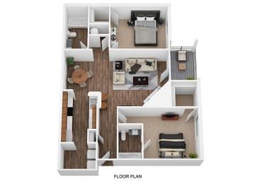2 Bedroom 2 Bathroom Floor Plan at Shillito Park Apartments, Lexington, KY