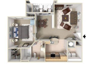 Alexander Floorplan 1 Bedroom 1 Bath 832 Total Sq Ft at Alden Place at South Square Apartments,Durham, NC 27707