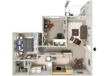 Pamlico Floorplan 1 Bedroom 1 Bath 938 Total Sq Ft at Alden Place at South Square Apartments,Durham, NC 27707