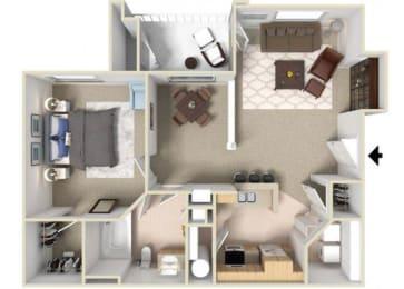 Richmond Floorplan 1 Bedroom 1 Bath 828 Total Sq Ft at Alden Place at South Square Apartments,Durham, NC 27707