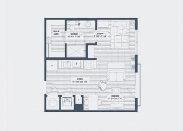 Auburn Floor Plan at The Dartmouth North Hills Apartments, Raleigh, NC