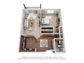767 sq.ft. One Bed One Bath