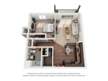 786 sq.ft. One Bed One Bath