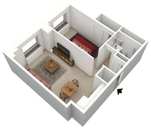 Floor Plan 1 BEDROOM - MEDIUM