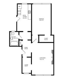 Floor Plan 1 BEDROOM - DEN
