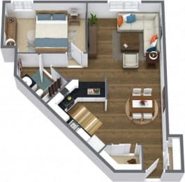 Floor Plan ONE BEDROOM LARGE RENOVATED