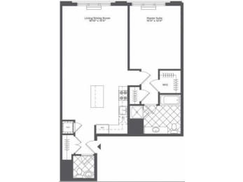 Floor Plan  1 bedroom floor plan | Infinity Apartments in Edgewater, NJ