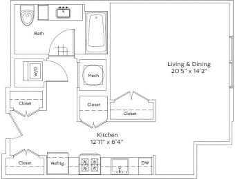 Floor Plan  Studio Floor Plan   75 Tresser Stamford CT