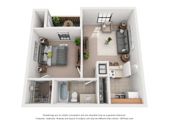 540 sq.ft. One Bed One Bath