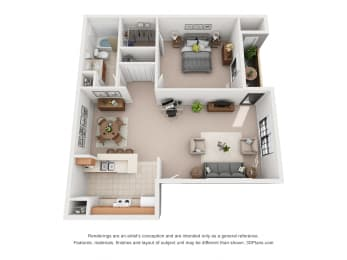 672 sq.ft. One Bed One Bath