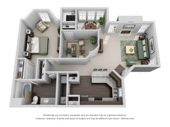 936 sq.ft. One Bed One Bath