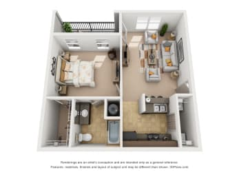 687 sq.ft. One Bed One Bath