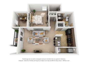 766 sq.ft. One Bed One Bath