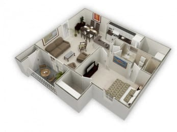 757 sq.ft. One Bed One Bath