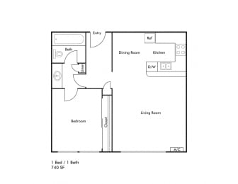 Floor Plan 1 BEDROOM 740 SQUARE FEET