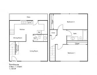 Floor Plan 2 BEDROOM 1140 SQUARE FEET