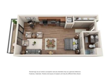 Studio Floor plan at Equinox, Seattle, 98102