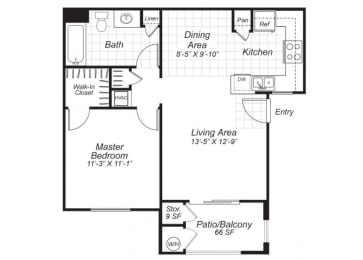Floor Plan  One bedroom one bathroom A1 floor plan at Bristol Apartment Homes in Dixon, CA