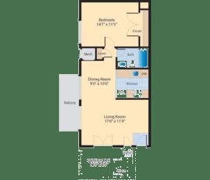 A2 Floor Plan at The Fields of Alexandria, Alexandria, 22304