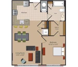 1 Bedroom 1 Bathroom Floor Plan at Garfield Park, Arlington