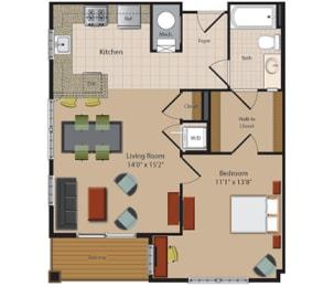 A5 1 Bedroom 1 Bathroom Floor Plan at Garfield Park, Arlington, VA, 22201