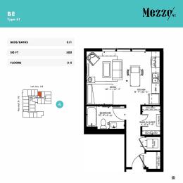Be Studio Floorplan Mezzo Apartments NE Minneapolis MN